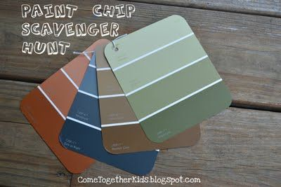 I chose earth tones this time because I planned on having them do it outdoors, but bright color swatches would be perfect for a playroom scavenger hunt or autumn hues would be great when the leaves start changing colors.: Paintings Swatch, Birthday Parties, Paintings Sample, Kids Crafts, Fun Ideas, Scavenger Hunt'S, Kids Fun, Swatch Scavenger, Paintings Chips