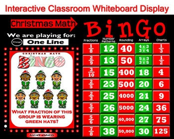 Christmas Math Bingo - features a Computer Bingo Caller option to make your classroom more interactive. Use this to draw random question cards and to display called answers while the class follows along with their own printed bingo cards. Cost is three dollars. Try the FREE DEMO at www.teachersclassmate.com