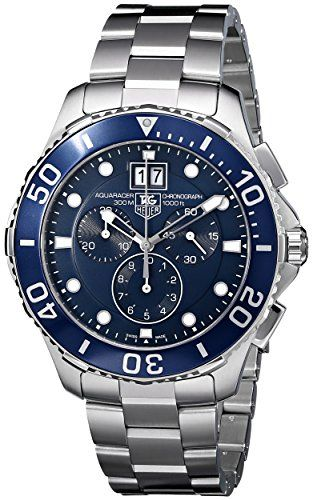 nice Tag Heuer Aquaracer Grande Date Men's Quartz Watch with Blue Dial Chronograph Display and Silver Stainless Steel Bracelet CAN1011.BA0821