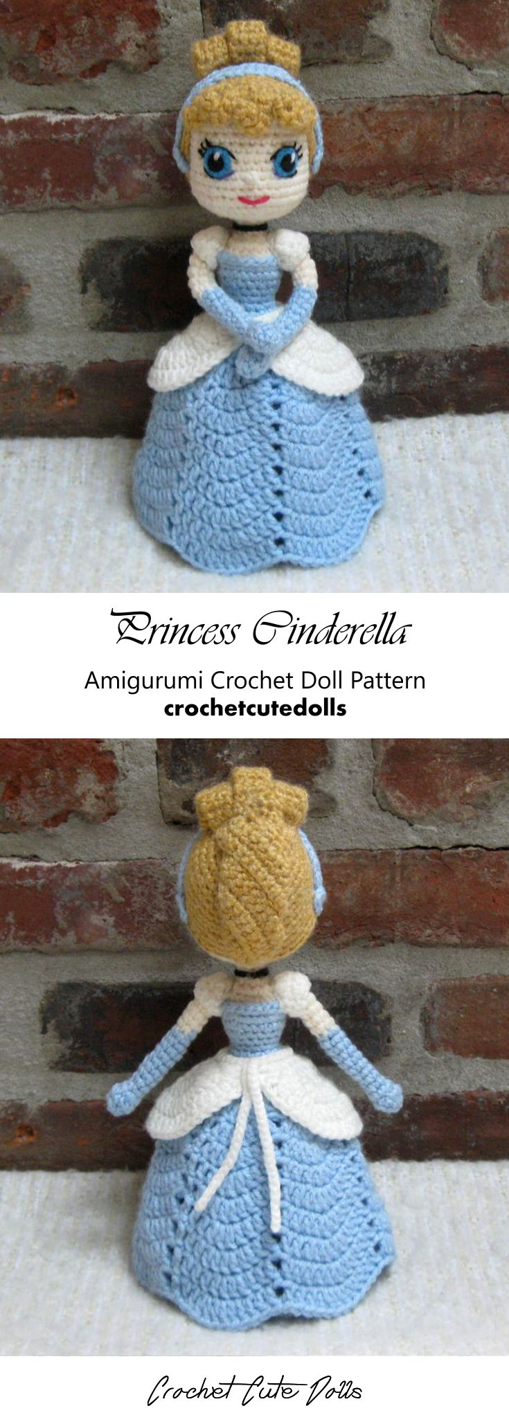 Amigurumi Crochet Doll Pattern & Tutorial für die Disney Princess Cinderella von Crochet Cute Dolls