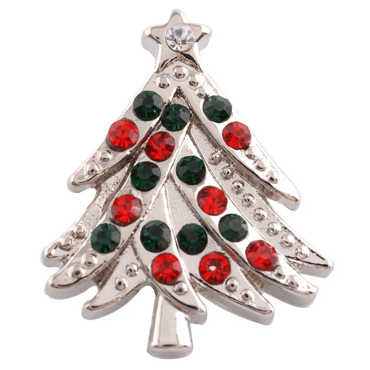 1 PC - 18MM Christmas Tree Green Red Rhinestone Silver Tone Charm for Candy Snap Jewelry KC6161 CC2615