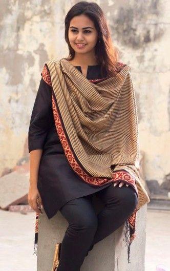 black silk salwar kameez with handloom dupatta