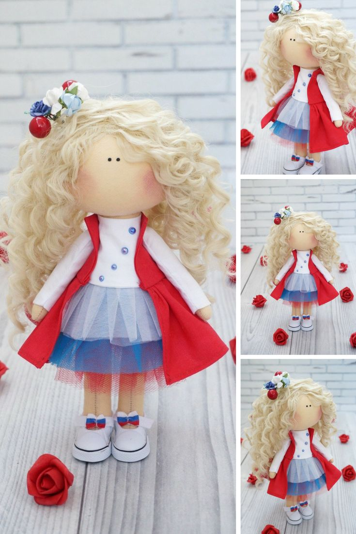 Textile doll FREE Shipping Handmade doll Fabric doll Christmas doll Red doll Rag doll Tilda doll Cloth Art doll New year doll by Kristina This is handmade cloth doll created by Master Kristina (Vladivostok, Russia). All dolls stated on the photo are mady by artist Kristina. Doll is 28 cm (11 inch) tall and made of only quality materials. This doll is made TO ORDER. Such dolls and toys can be great present for your beloved people.