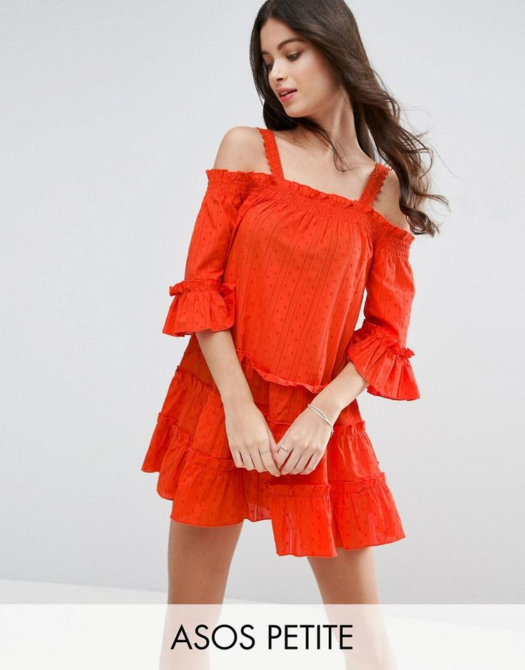ASOS PETITE Dobby Spot Tiered Cold Shoulder Sundress - Orange