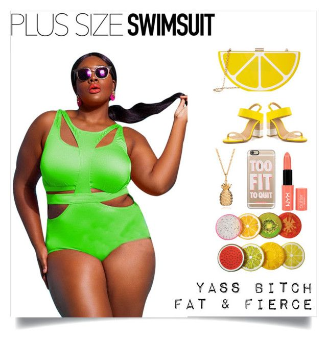""""""" Summer Trending """" by shamelessuseofcharlie on Polyvore featuring Jessica McClintock, ALDO, Casetify, NYX, stylishcurves and plussizeswimsuit"""