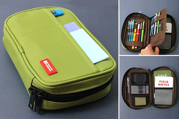 Lihit Lab Teffa Pen Cases: this is the one I ordered and I love it. Holds multilple sketchbooks the size of Field Notes, has pouches on the inside and out, room for a thumb-drive if we want, etc. There are several places to order these online. —Julia