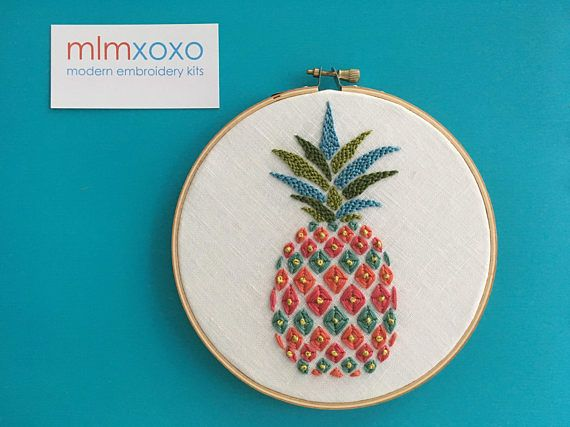 Pineapple embroidery KIT by mlmxoxo. modern embroidery kit.