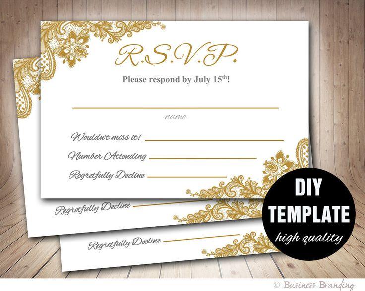 Gold Wedding RSVP Template DIY,Instant Download Printable RSVP Wedding  Response Card,Microsoft Word