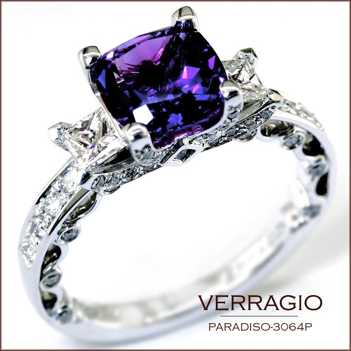 It's becoming popular to replace the center diamond with a birthstone: Paradiso-3064P with a cushion-cut Amethyst.