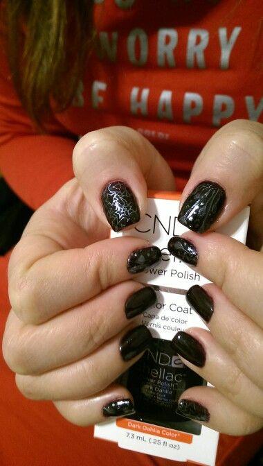 Cnd dark dahlia nail design