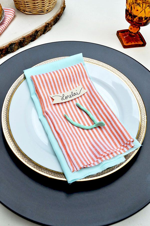 diy | clay wishbone place card holder | via: oh happy day!