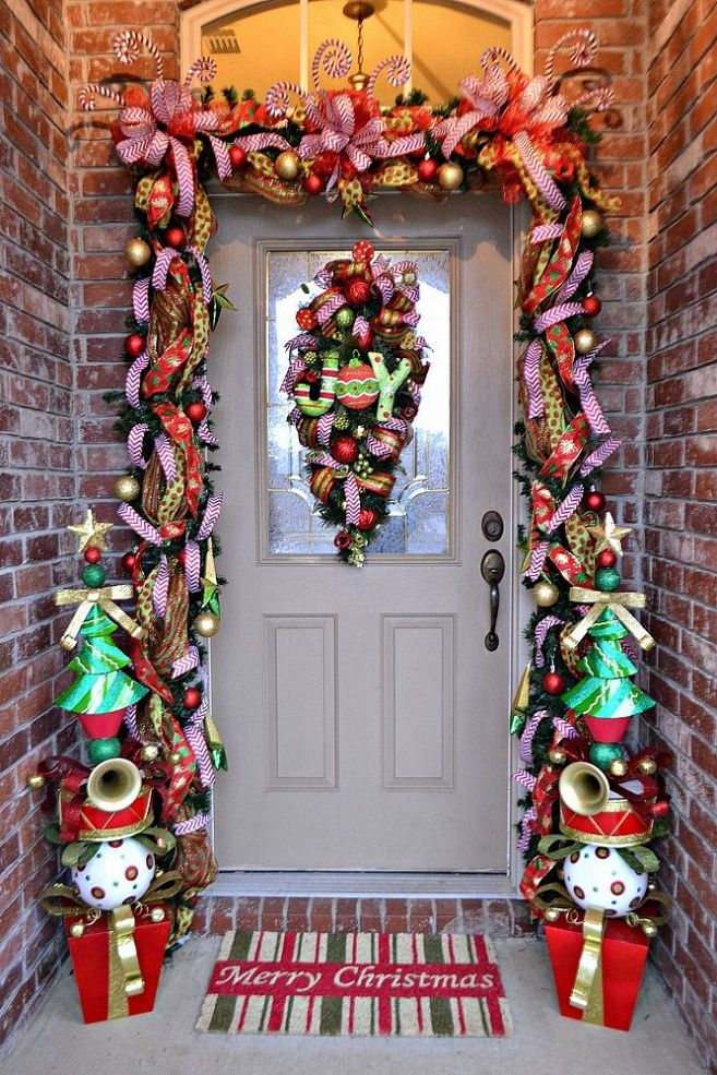 Christmas Front Door Ideas Part - 49: DIY:: 2013 Quick Easy Whimsical Christmas Front Door How To !