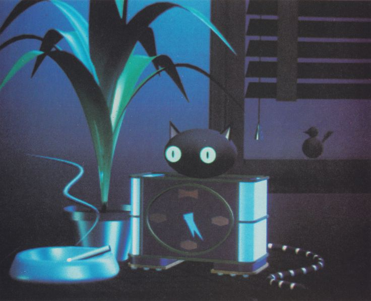 "From Creative Computer Graphics (1984) ""Cat Clock. Glen Entis, Pacific Data Image, 1983. """