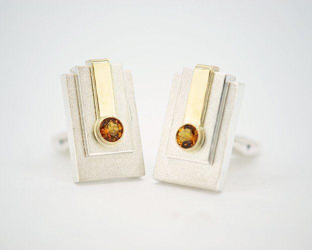 Citrine Cufflinks #customjewelry #customcufflinks #silvercufflinks #cufflinks #mensjewelry #citrine #SuttonSmithworks #WinnipegCustomJeweller