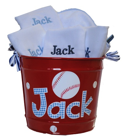 All American Bucket Gift Set - personalized Bucket, 4 Burp Cloths, and a hooded Towel with gingham, baseballs, and puppies! Perfect gift for a new baby (or growing!) boy.