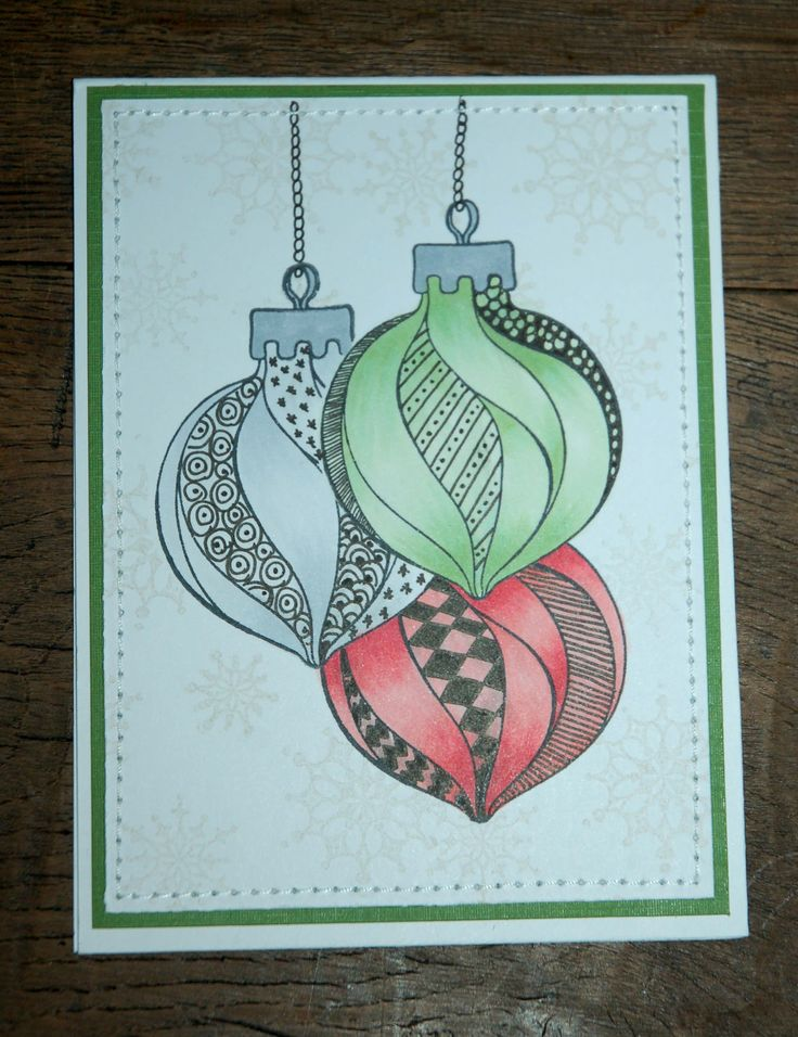 Christmascard made by Aletta Heij. Doodle stamp 55.0126 Christmas Ornament and 55.9869 clearstamp Snowflakes. All products available at Snellencrafts.nl