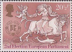 Europa. 25th Anniversary of C.E.P.T. and 2nd European Parliamentary Elections 20.5p Stamp (1984) Abduction of Europa