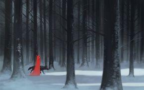 Обои арт, лес, снег, деревья, девушка, волк
