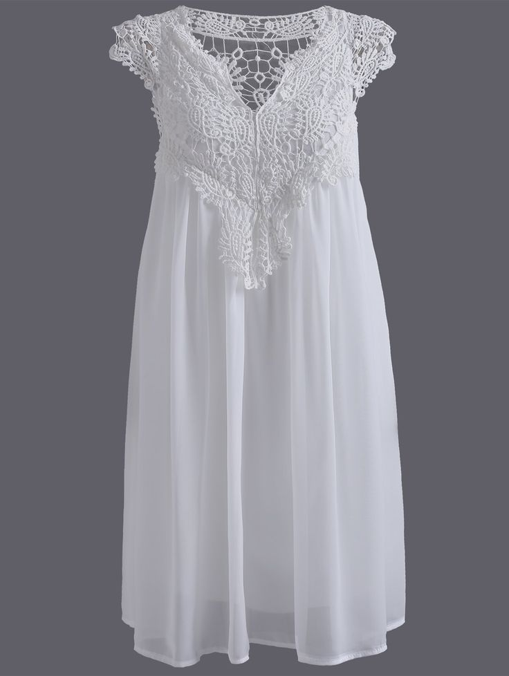 Plus Size Hollow Out Lace Spliced Mini Dress