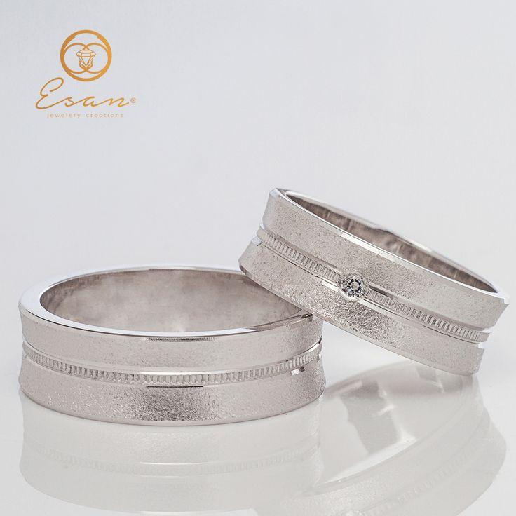 Verighete din aur alb cu diamant ESV16