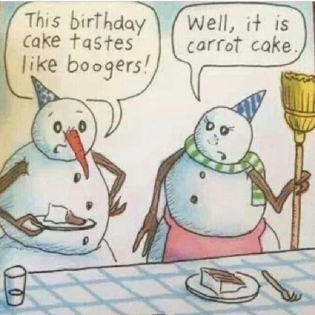 Snowman Birthday Card Carrot Cake