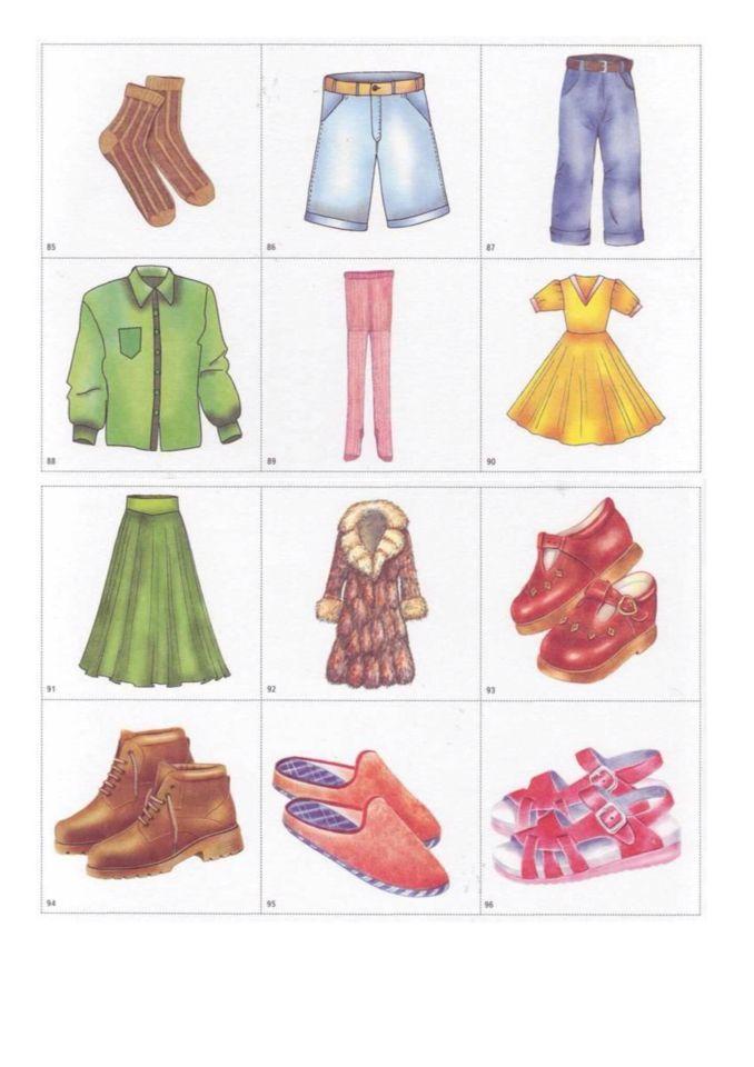 Картинки одежды для детей для занятий