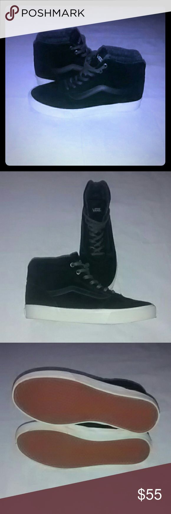 NEW! ❇VANS❇ Suede Mid-Tops These are in NEW condition! I wore them for about an hr, inside, but they're just slightly too snug for me😞 Very cool black suede mid-tops in Perfect NEW condition @ a fantastic price!😉💕 Vans Shoes
