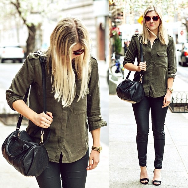 Army green shirt, dark skinny jeans, and boots \u003d perfect outfit Army Skinny
