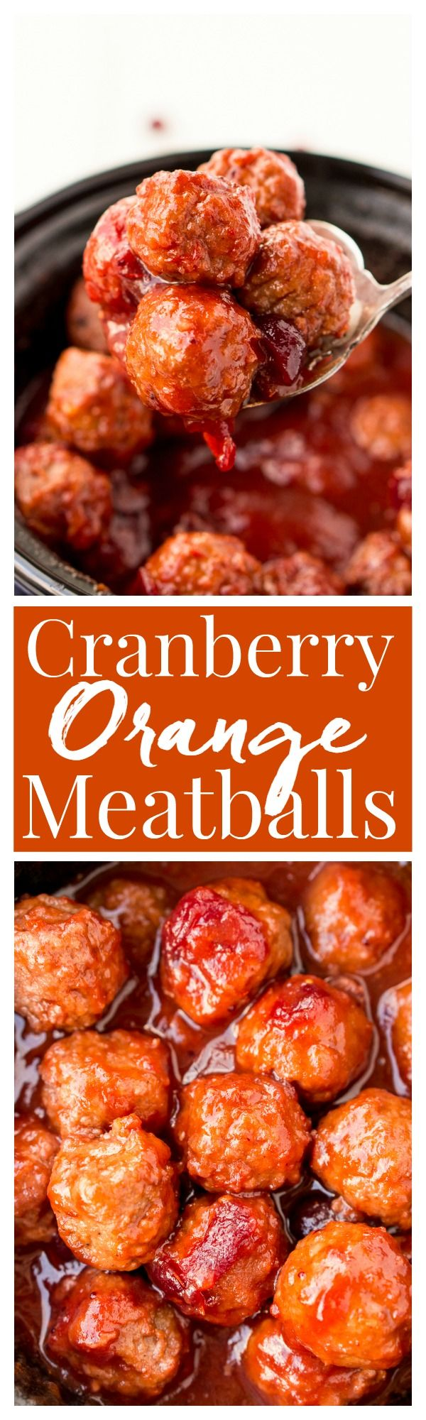 These Cranberry Orange Meatballs are made with just 4 ingredients with just 5 minutes of prep work! Let your crockpot take care of the rest and serve up this delicious appetizer at your holiday and game day parties!