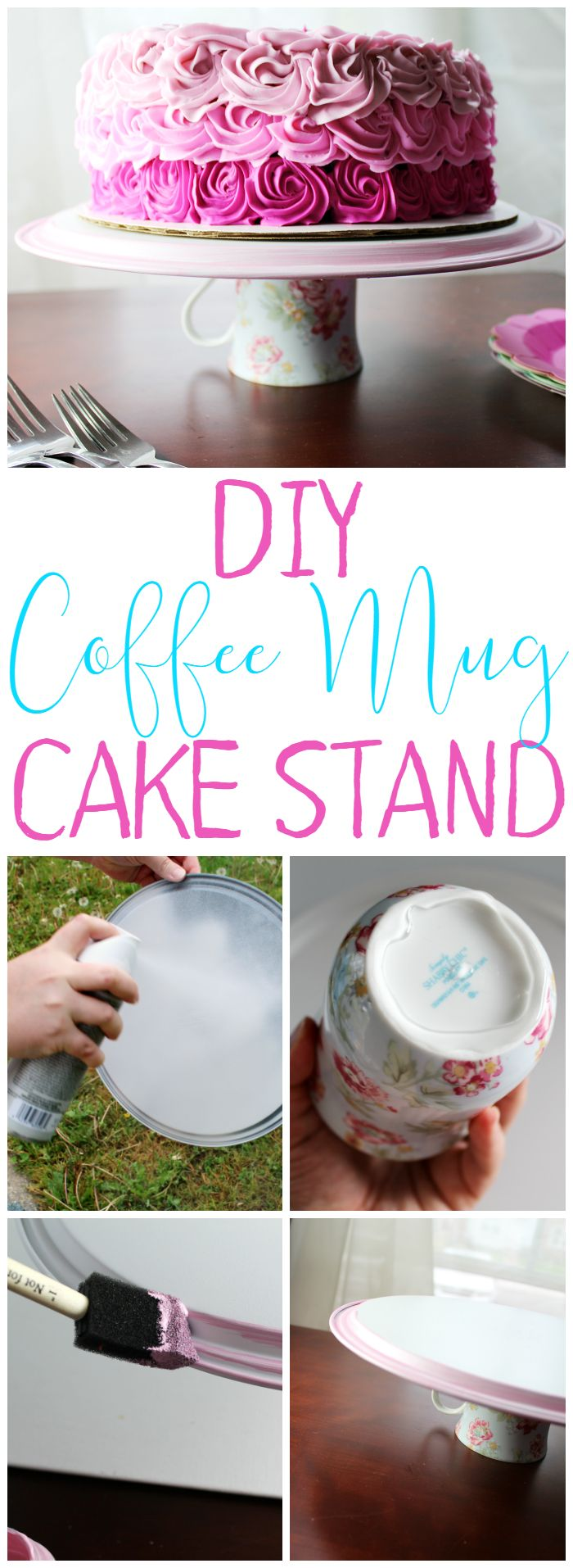DIY Coffee Mug Cake Stand is easy to make and will make a great gift! [ad]