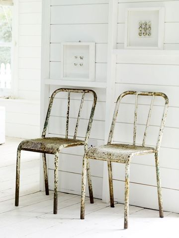 vintage chairs - love them with the white. Industrial shabby chic :-)