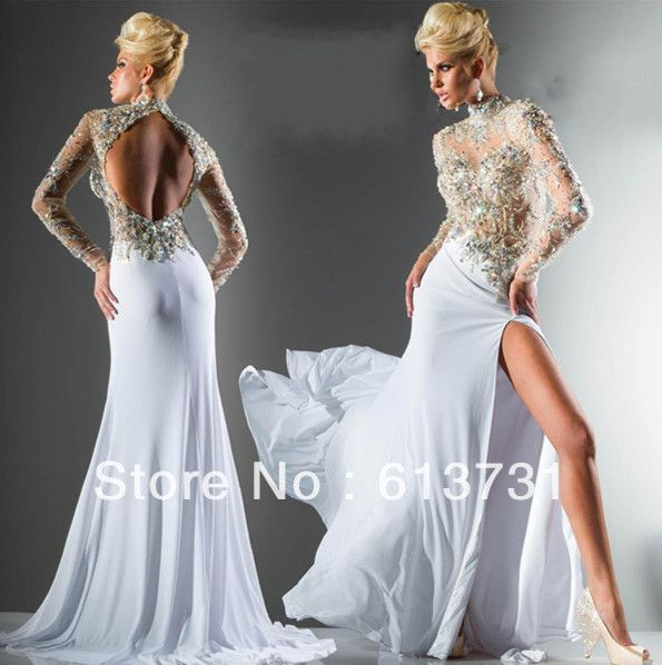 perfect wedding gowns: Wholesale 2013 New Sexy Long Sleeves See Through Prom