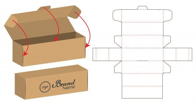 Box Verpackung Gestanzt Vorlage Design Premium Vektor 6