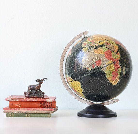 Vintage Black Starlight Globe by Replogle by bellalulu on Etsy, $68.00