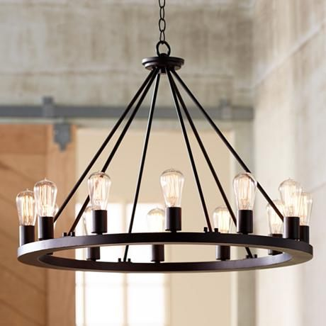 "Lacey 30"" Wide Round Black Chandelier $499.99"
