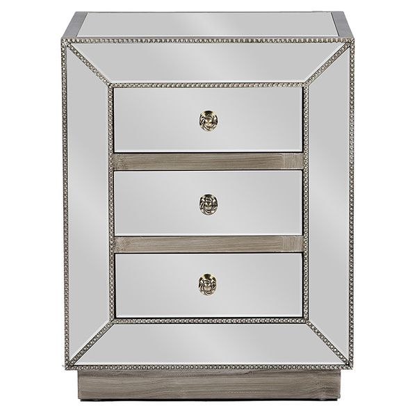 Currin Contemporary Mirrored 3 Drawer Nightstand