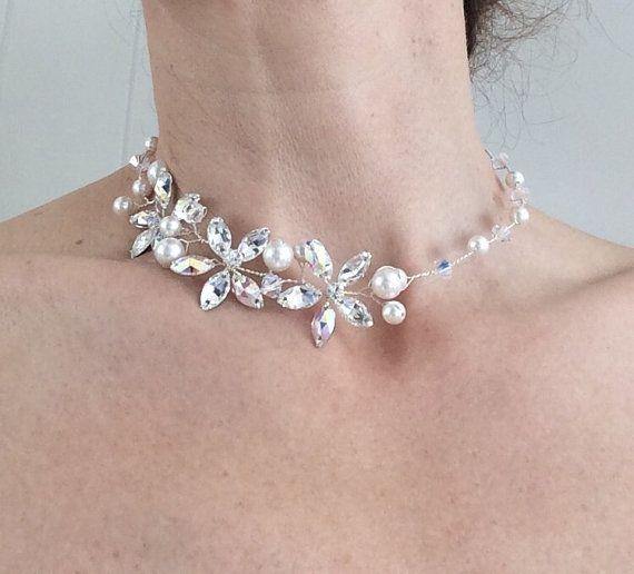 Bridal Choker Bridal Necklace Swarovski Pearls by glamourbysonja