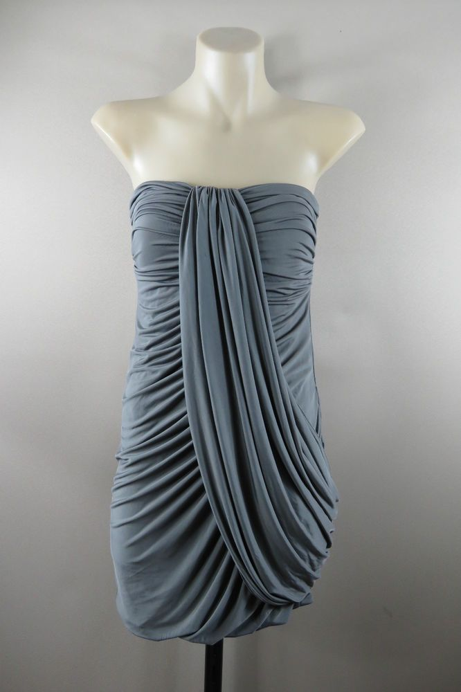 Size S 10 Ladies Strapless Grey Wiggle Dress Cocktail Ball Party Wedding Design  | eBay