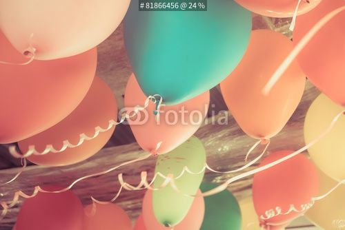 """""""Colorful balloons floating on the ceiling of a party in vintage"""" Stock photo and royalty-free images on Fotolia.com - Pic 81866456"""
