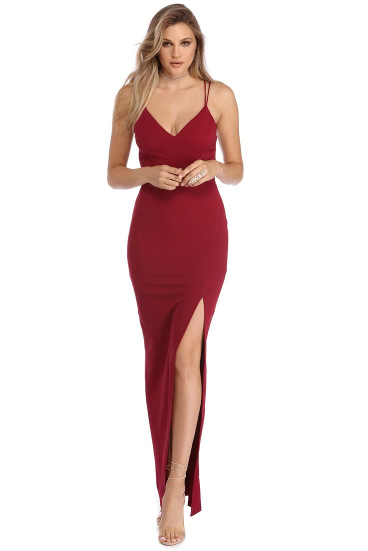 Sophie Burgundy Front Slit Dress | windsor
