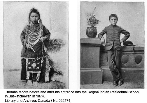 Thomas Moore before & after his entrance into the Regina Indian School in Saskatchewan in 1874.