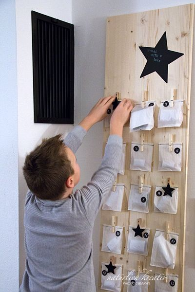 DIY advent calendar - just add stories clipped into each peg, or items that help tell the Christmas story