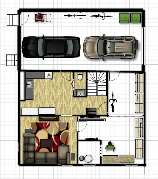 Basement w man cave and no wide door to new tandem for Man cave floor plans