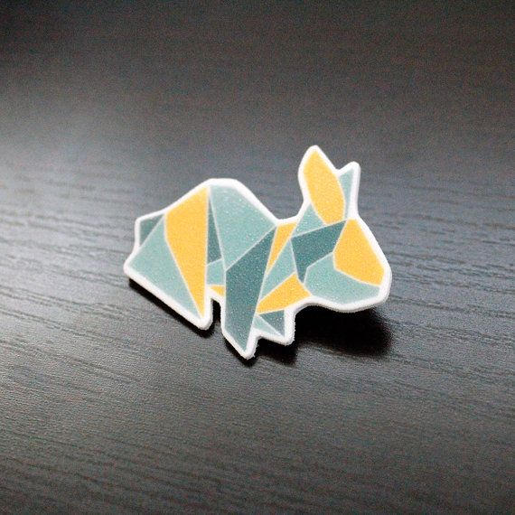 Adorable Nordic Blue and Yellow Origami Bunny by PaperAlphabet, $10.00