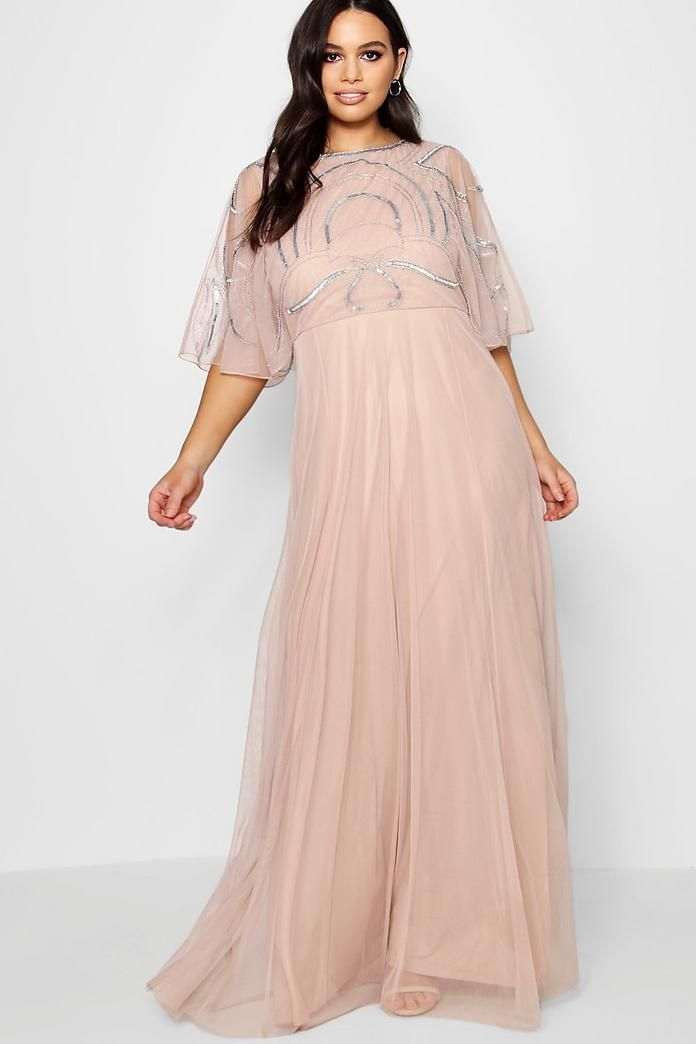 a8840a4016 Plus Caitlyn Embellished Angel Sleeve Maxi Dress