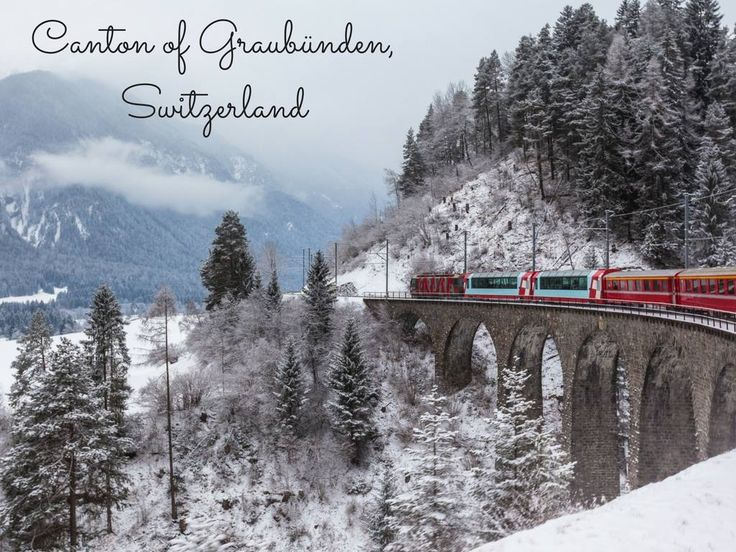 Canton of Graubünden, Switzerland. This Eastern Switzerland canton is beloved for its dramatic Alpine scenery and ample winter sports. St. Moritz, the Winter Olympics host in 1928 and 1948, offers ski runs, an outdoor ice rink and ski jumping.