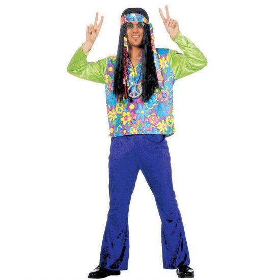 Hippie kleding voor heren  Hippie kostuum voor heren. Fluwelen hippie kostuum bestaande uit een paarse broek een gebloemd shirt met groene mouwen en een gebloemde hoofdband. Ga verkleed als een echte hippie met dit complete hippie kostuum.  EUR 44.95  Meer informatie