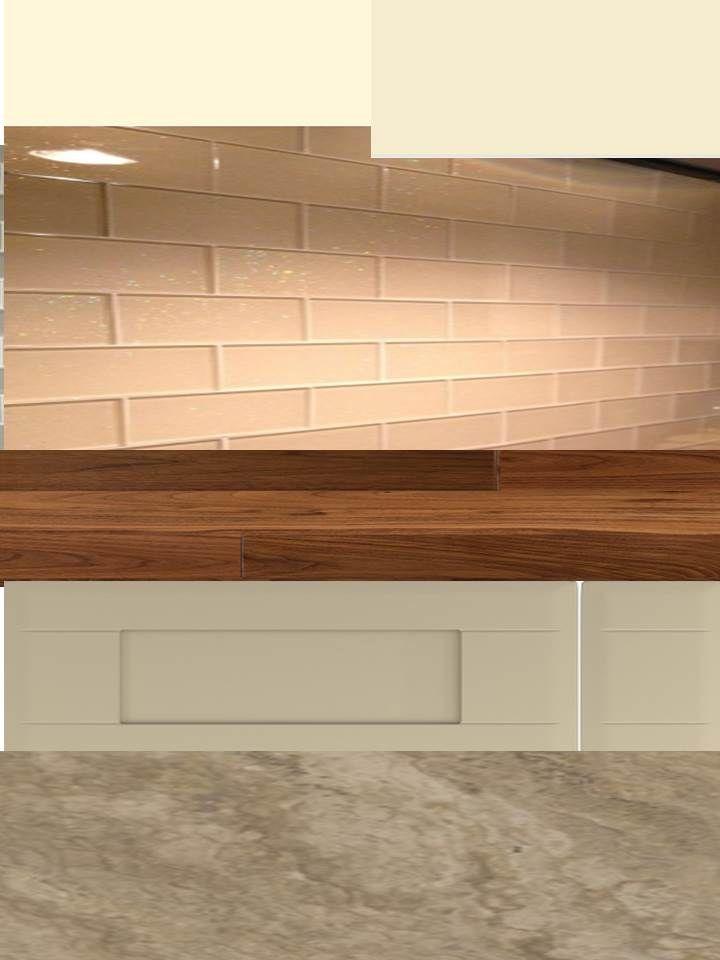 Kitchen Colour Scheme V2 Dakar Units Walnut Worktop And Ivory Brick Tiles