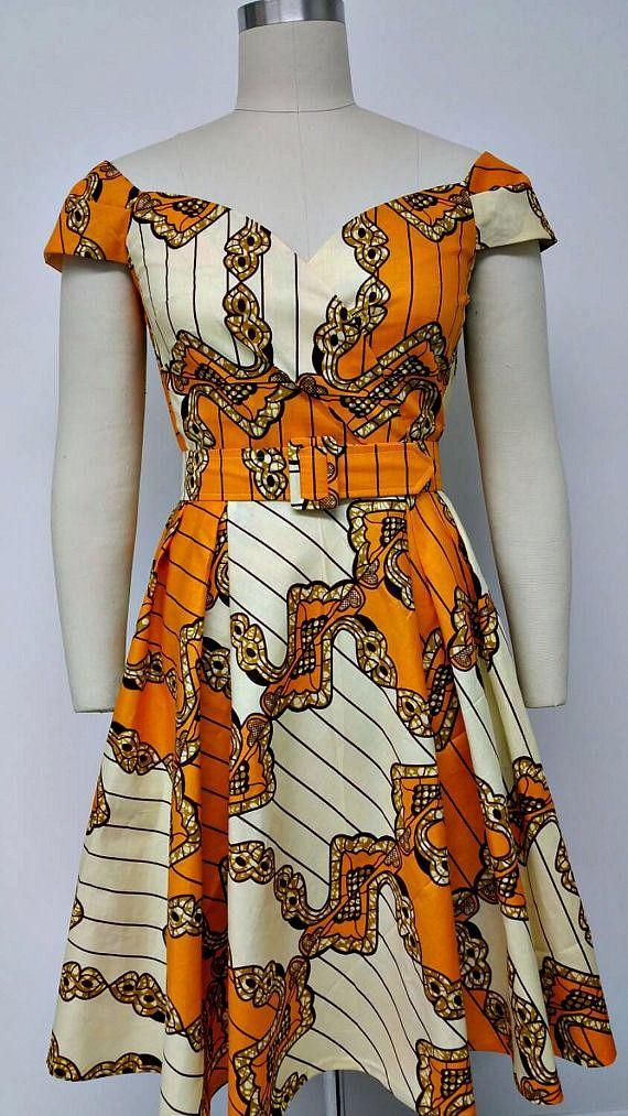 Dutch Wax Fitted Waist Dress with Cross Over Sweetheart Neckline. Womens…