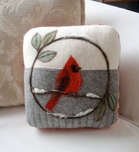 Needle Felted Red Cardinal Pillow made from Recycled Sweater Fabric